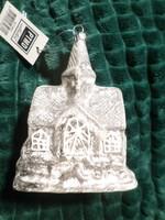 10 cm-es , hamvas -patinás , jegecesen csillogó , üveg karácsonyfadísz , templom formájú .