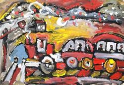 Németh Miklós (1934-2012): Hegyvidéken pöfögő vonat - nagy méretű olajfestmény