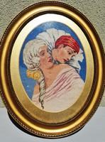 Gyönyörű, korabeli art deco gobelin - A bohóc és szerelme