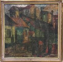 KÁDÁR JÓZSEF /1936 - 2019/ Debreceni udvar,o-v,kerettel 79x79 cm