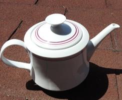 Retro alföldi teakiöntő - fehér kiöntő piros - bordó csíkkal