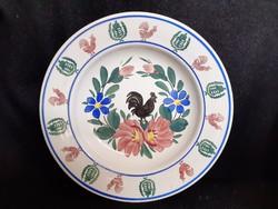 Ritka kakasos, nemzeti címeres Wilhelmsburg, keménycserép fali tányér