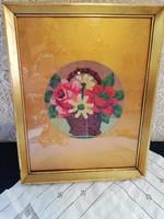 Eladó antik gobelin virág csokros kép!