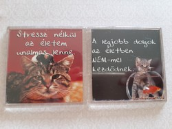 Hűtőmágnes macskás cicás 2 db