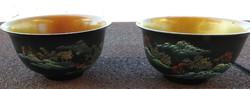 Japán rizses tányér pár - kézzel festett lakkozott fa mély tál pár