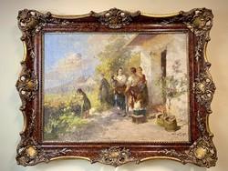 Ács Ágoston (1889-1947) Beszélgetők az udvaron c.olajfestménye eladó