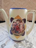 Eladó szecessziós altwien gyönyörű jelenetes porcelán teás kanna!