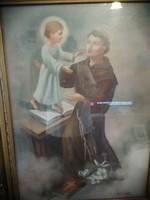 Jelzett régi vászon festmény Gyönyörű keretben