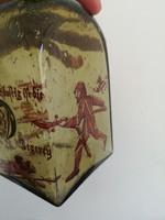 Nagy méretű vadász jelenetes üveg likőrös