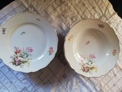 Eladó antik porcelán Haas&Cjczek cseh virágos lapos és mély tányérok 8+8 db!