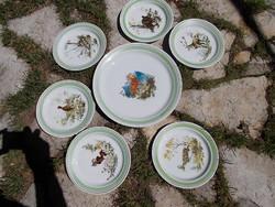 Hollóházi antik vadászjelenetes, nagy tányér készlet