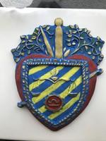 Cserép címer AXMANN 1953 jelzéssel 21.5*18.5 cm