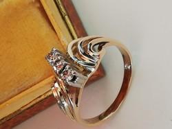 Régi arany gyűrű gyémánt kövekkel (14k)
