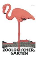 Vintage állatkerti plakát reprint nyomat Klinger német rózsaszín flamingó madár épületek minimalista