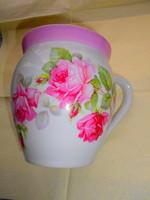 Nagyméretű 1 literes hasas  rózsás csupor