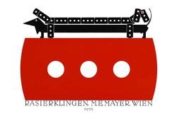 Minimalista borotva penge plakát reprint nyomat Klinger 1922 dakszli tacskó kutya terrier humor vicc