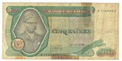 5 zaires 1976 Zaire
