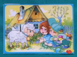 Foky Ottó és Emmi , húsvéti, használt képeslap