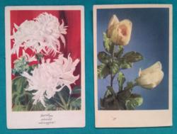 Régi virágos üdvözlőlapok,használt képeslapok 1957