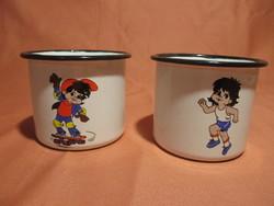 2 db fém zománcos kis bögre, gyerek csésze