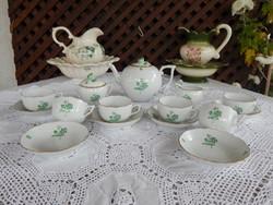 Herendi porcelán zöld virágos teáskészlet
