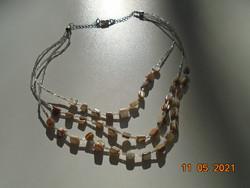 3 soros nyakék gyöngyház  csiszolt fazettált kagyló és átlátszó vékony csillogó cső gyöngyökből