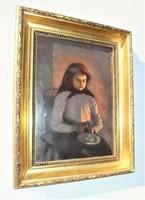 Krumpli hámozó lány, Böhm Pál alkotása, 53x37-s olajvászon