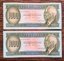 Bartók ezer forint  2 db.sorszámkövető