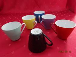 Kahla német porcelán, színes, hatszemélyes  kávéscsésze, magassága 6,5 cm.