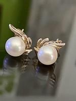 Kecses ezüst fülbevaló pár Gyöngy díszítéssel