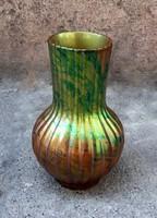 ZSOLNAY bordás testű Art Deco váza Zöld Kék Rózsaszín Ezinmázzal