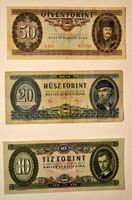 Regi 10-20-50-forintos magyar papir penzek