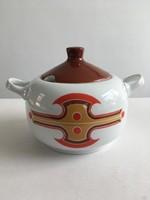 Retro, vintage Alföldi porcelán menza, leveses tál