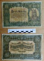 500 korona 1920 (2) nagyméretű bankjegy szép állapotban