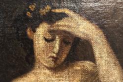 Palinay György szignóval ellátott vízhordó lány (akt) festmény