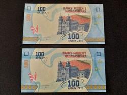 Madagaszkár 100 Ariary UNC sorszámkövető pár