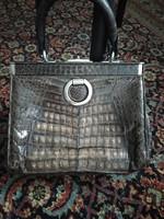 Antik bőrtáska, Matell egzotikus krokodil vagy aligáror bőr táska antique aligator bag
