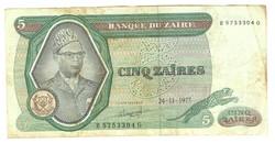 5 zaires 1977 Zaire 1.