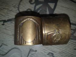 Antik réz szalvétagyűrű párban