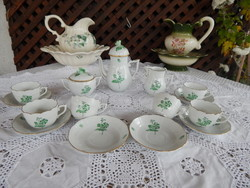 Herendi porcelán zöld virágos kávéskészlet