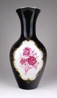 1E370 Régi nagyméretű fekete Unterweissbach porcelán váza 26 cm