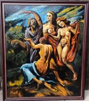 Holló L. szignóval – Aktok tánca című festménye – 139.