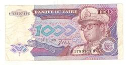 1000 zaires 1989 Zaire