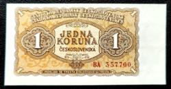 Csehszlovákia 1 korona 1953 UNC