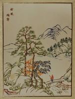 Kínai selyemkép,kézzel festett
