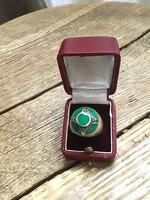 Kézműves ezüst gyűrű krizopráz és markazit kövekkel