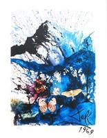 Salvador Dali: Pillangó tánca az Alpokban - litográfia, jelzett