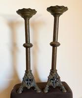 18.századi bronz templomi gyertyatartó pár.