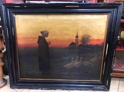 Antik szignózott libás nő festmény
