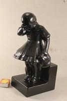 Dósa - Pardy fekete kerámia szobor 199